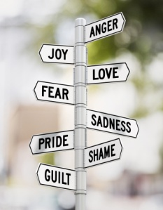 Street signs showing range of emotions